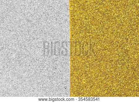 Background Of Shimmering Glitter Half Golden And Half Silver Ideal For Decoration Or As A Backdrop