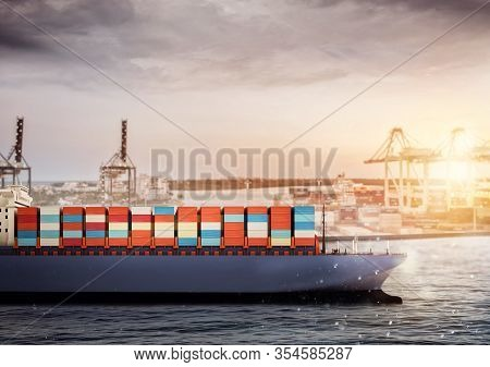 Cargo Ship At The Port Ready To Travel With Packages. Concept Of Transportation Industry