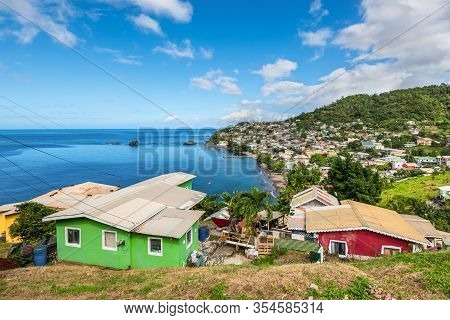 Barrouallie, Saint Vincent And The Grenadines - December 19, 2018: Coastline View With Lots Of Livin