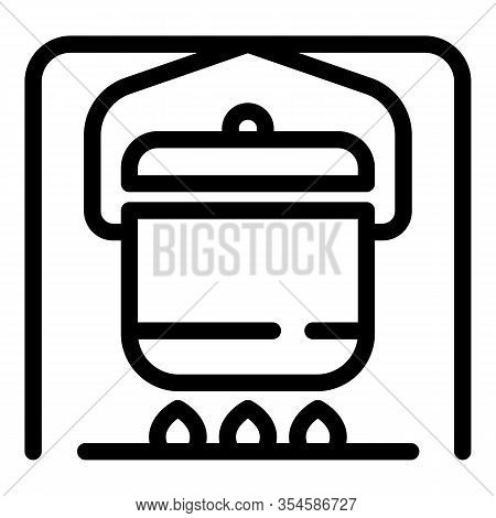 Campfire Kitchen Icon. Outline Campfire Kitchen Vector Icon For Web Design Isolated On White Backgro