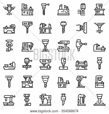 Milling Machine Icons Set. Outline Set Of Milling Machine Vector Icons For Web Design Isolated On Wh