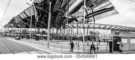 Barcelona, Spain - Feb 8, 2014: Famous Flea Market Els Encants Vells With Mirror Ceiling Reflected B