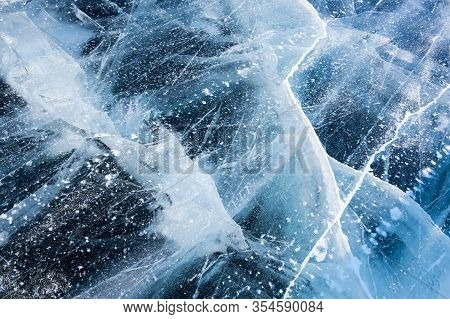 Ice Of Lake Baikal, The Deepest And Largest Freshwater Lake By Volume In The World, Located In South