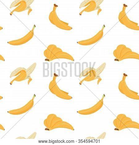 Banana Seamless Pattern. Cartoon Texture Of Yellow Peeled, Multiple And Single Bananas, Flat Tropica