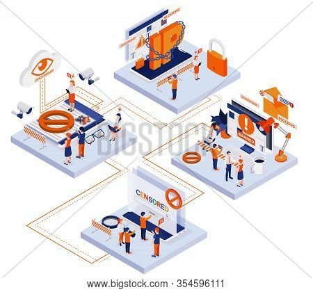 Internet Censorship Concept 4 Isometric Compositions With Account Content Control Blocking Ip Access