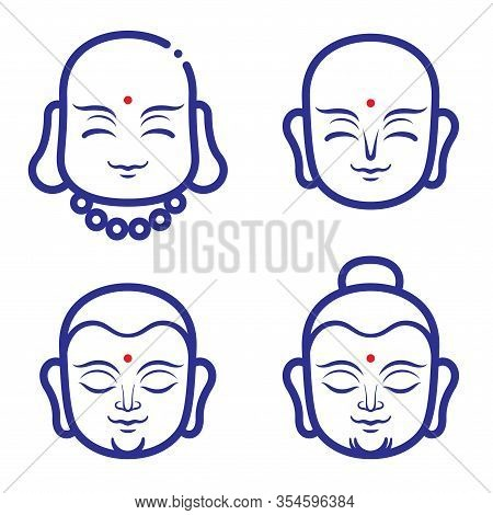 Buddha And Monk Face Vector Illustration. A Smiling Monks Face For Logo Or Icon Template Design. Tha