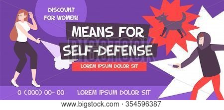 Self Defense Banner Composition With Editable Advertising Text Phone Numbers And Flat Human Characte