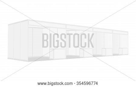 Trade Show Booth Display For Expo Isolated On White Background. Vector Illustration