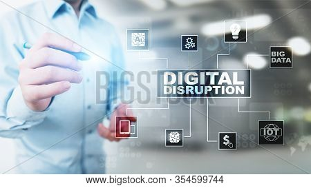 Digital Disruption. Disruptive Business Ideas. Iot, Network, Smart City, Big Data, Cloud, Analytics,