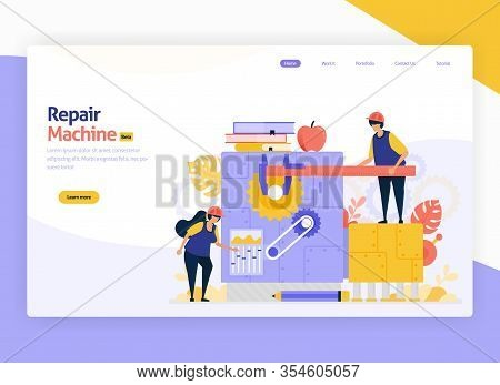 Vector Illustration For Repair And Development Of Industrial Manufacturing Machinery. Jobs For Maint