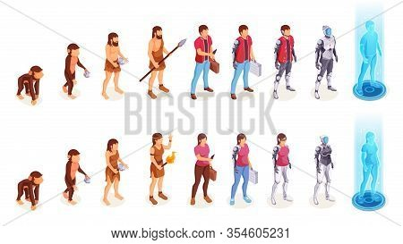 Human Evolution Of Man And Woman From Ape Monkey To Office Worker And Cyborg. People Evolution Proce