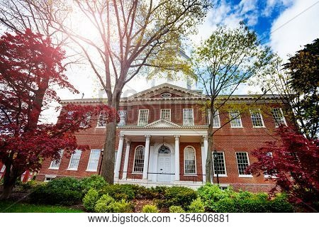 Government House In Annapolis, Usa Brick Building Serves As The Residence Of The Governor Of Marylan