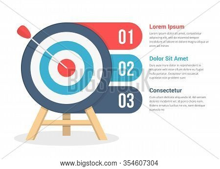 Target With Three Elements For Your Text, Three Steps To Your Goal, Infographic Template For Web, Bu