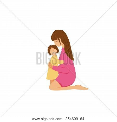 Vector Illustration Of Brunette Mom Hugs Daughter