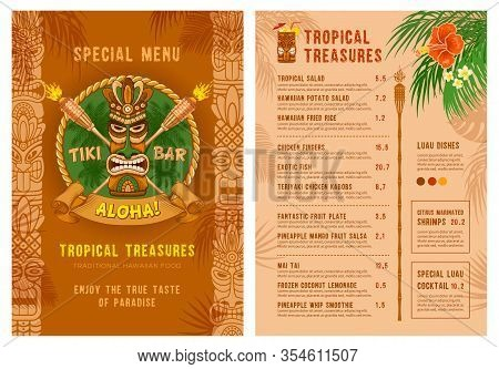 Template For Menu Of Tiki Bar Or Club. Cover And Back Side. Drinks And Food. Traditional Tiki Mask,
