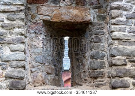 Embrasure In The Historic City Wall Of Bad Muenstereifel, Germany