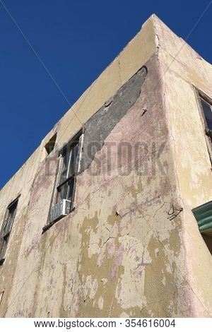 Detail Of An Old Adobe Building In Albuquerque