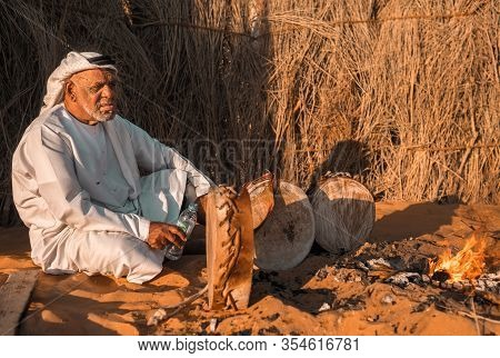 Arab Bedouin Man In Abu Dhabi ,united Arab Emirates In  Sheikh Zayed Heritage Festival September 22,