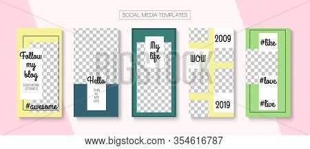 Mobile Stories Vector Collection. Online Shop Polygon Graphic Apps. Blogger Modern Concept, Social M