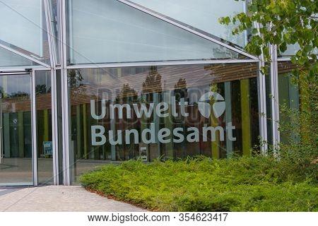 Dessau - August 05, 2018: Environment, Glass Facade And Entrance Area Of The Federal Environmental A