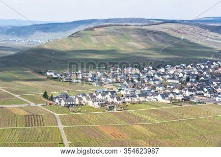 Moseltal, Germany - March 26, 2016: Panoramic View Over The Moselle Valley In The Background The Vin