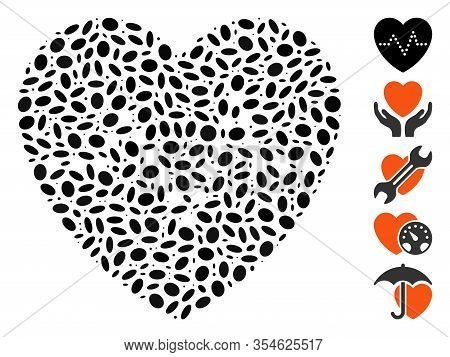Dotted Mosaic Based On Heart Pulse. Mosaic Vector Heart Pulse Is Formed With Scattered Oval Spots. B