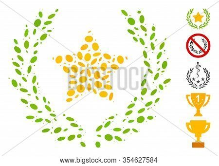 Dotted Mosaic Based On Star Glory Wreath. Mosaic Vector Star Glory Wreath Is Designed With Scattered
