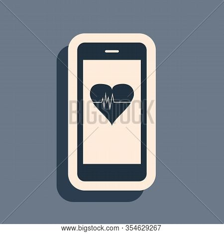 Black Smartphone With Heart Rate Monitor Function Icon Isolated On Grey Background. Long Shadow Styl