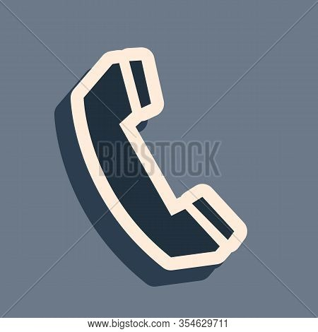 Black Telephone Handset Icon Isolated On Grey Background. Phone Sign. Call Support Center Symbol. Co
