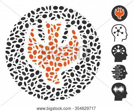 Dotted Mosaic Based On Falling Soul. Mosaic Vector Falling Soul Is Designed With Scattered Oval Elem
