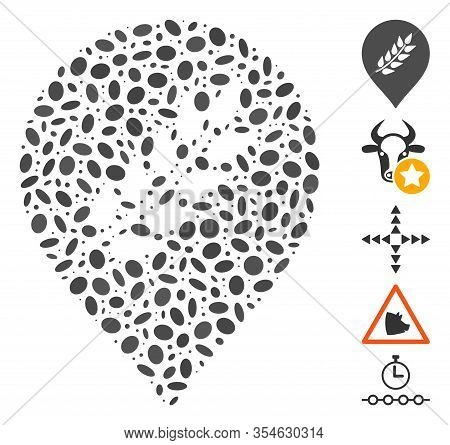 Dotted Mosaic Based On Plantation Mark. Mosaic Vector Plantation Mark Is Created With Random Ellipti