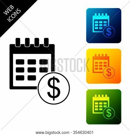 Black Financial Calendar Icon Isolated On White Background. Annual Payment Day, Monthly Budget Plann