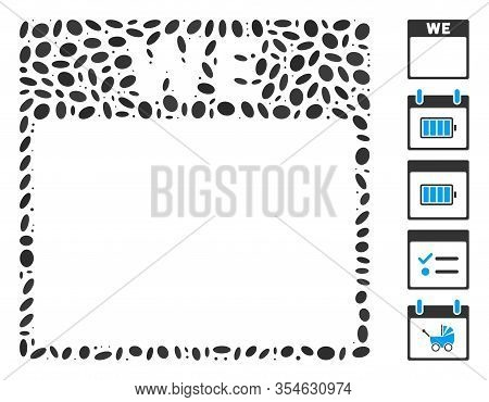 Dotted Mosaic Based On Wednesday Calendar Page. Mosaic Vector Wednesday Calendar Page Is Formed With
