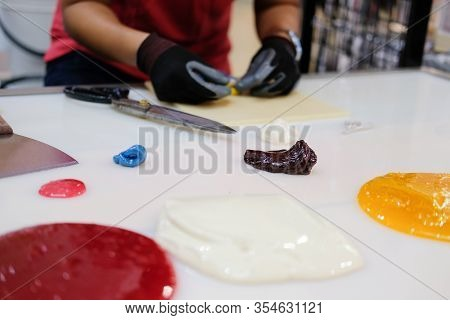 Melted Sugar For Making Candies In Confectionary Candy Shop