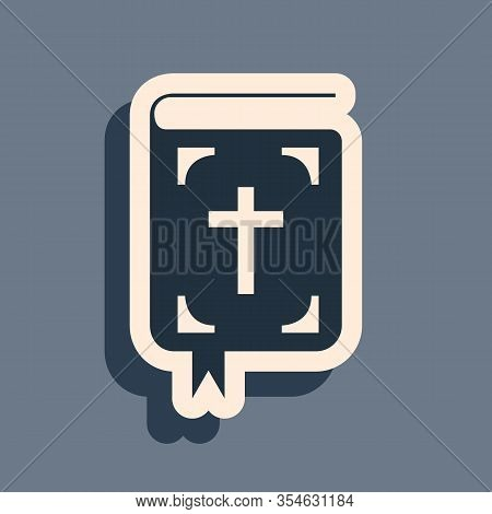 Black Bible Book Icon Isolated On Grey Background. Holy Bible Book Sign. Long Shadow Style. Vector I