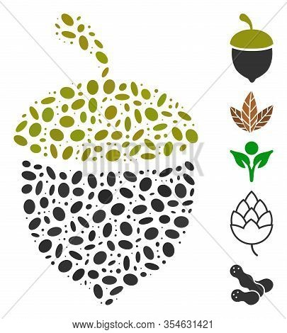 Dot Mosaic Based On Oak Acorn. Mosaic Vector Oak Acorn Is Formed With Randomized Elliptic Spots. Bon