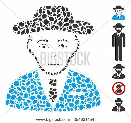 Dot Mosaic Based On Secret Service Agent. Mosaic Vector Secret Service Agent Is Formed With Random E