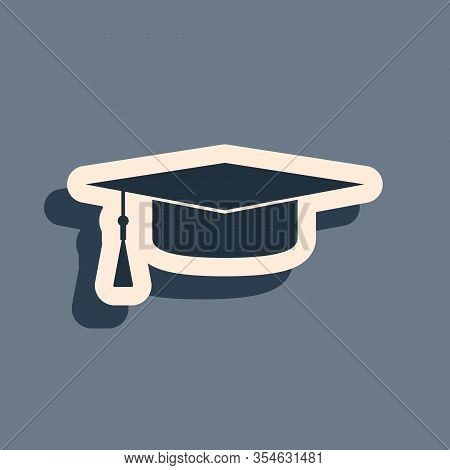 Black Graduation Cap Icon Isolated On Grey Background. Graduation Hat With Tassel Icon. Long Shadow