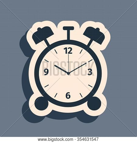 Black Alarm Clock Icon Isolated On Grey Background. Wake Up, Get Up Concept. Time Sign. Long Shadow
