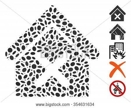 Dotted Mosaic Based On Wrong House. Mosaic Vector Wrong House Is Formed With Scattered Ellipse Eleme