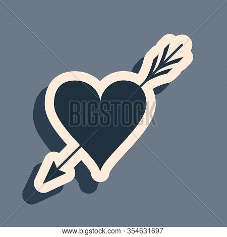 Black Amour Symbol With Heart And Arrow Icon Isolated On Grey Background. Love Sign. Valentines Symb