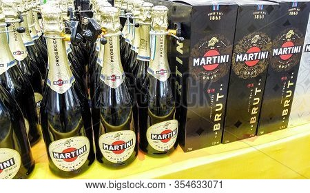 Samara, Russia - March 7, 2020: Bottled Alcoholic Sparkling Beverages Martini Ready For Sale On The