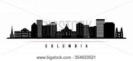 Columbia Skyline Horizontal Banner. Black And White Silhouette Of Columbia, South Carolinaa. Vector
