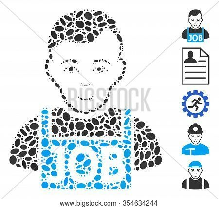Dot Mosaic Based On Jobless. Mosaic Vector Jobless Is Formed With Random Ellipse Dots. Bonus Icons A