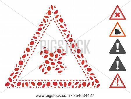 Dot Mosaic Based On Reject Triangle. Mosaic Vector Reject Triangle Is Formed With Random Elliptic Do