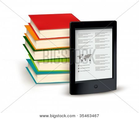 Stack of books and e-book. Vector illustration.