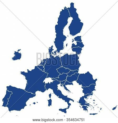 European Union Member States After Brexit, Blue Silhouettes. 27 Eu Member States After United Kingdo