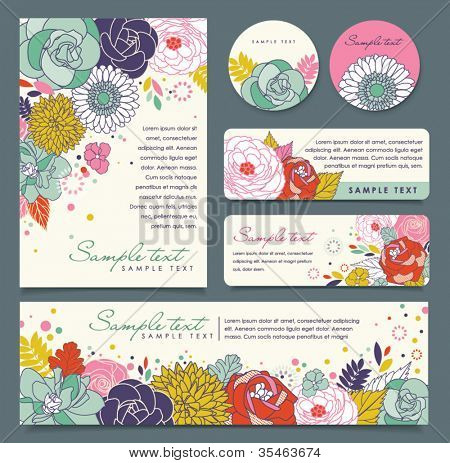 card templates with flowers background