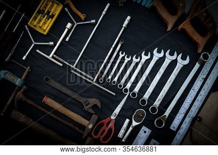 Photo Top View A Huge Set Collection Of Working Hand And Power Tools Many For The Wooden On Isolated