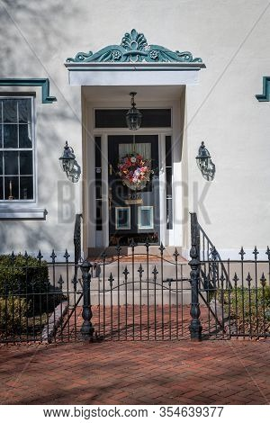 Burlington, New Jersey - March 4: A Picturesque Entrance To A Historic Row Home On March 4 2020 In B
